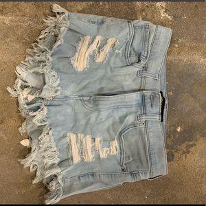 Express High Waisted Jean Shorts Size10 Light Wash